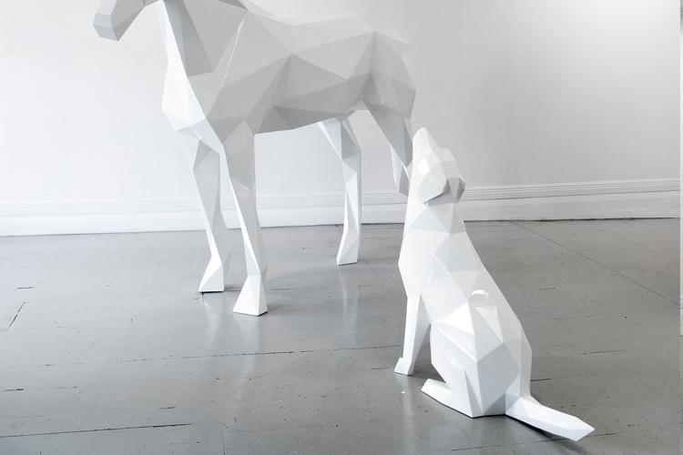 Geometrik Heykel | At ve Köpek