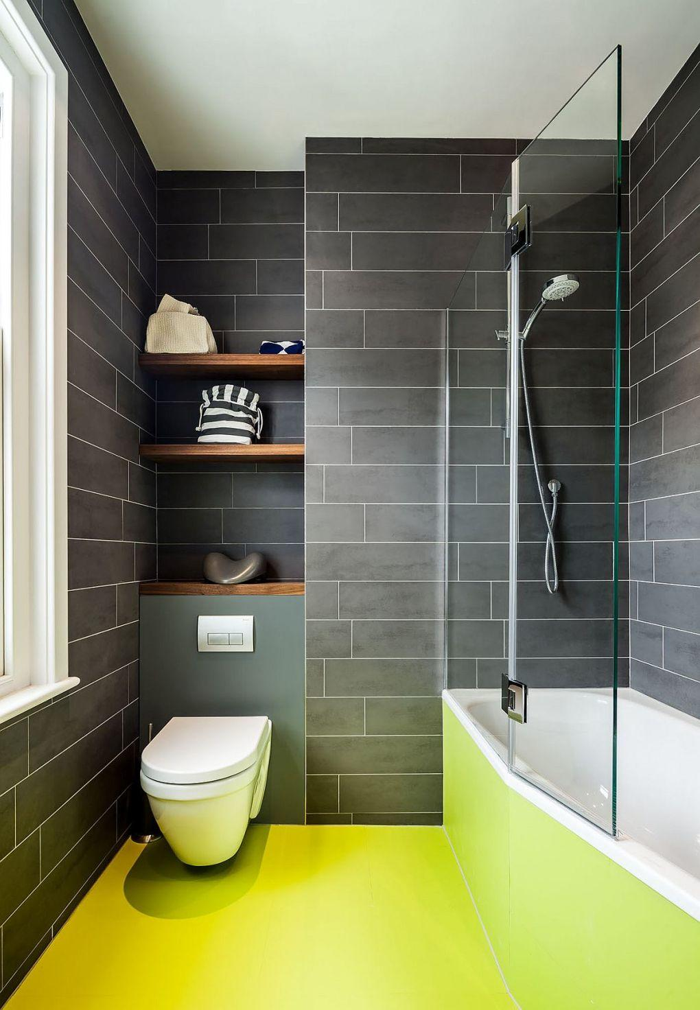 Eski Ev Yenileme Fikirleri | Bright and beautiful bathroom in gray and black with yellow flooring 1