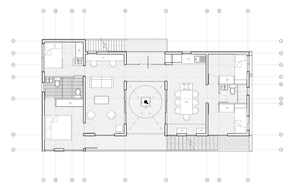 Ahşap Ev | Floor plan of Folding House in Las Cabras Chile 1