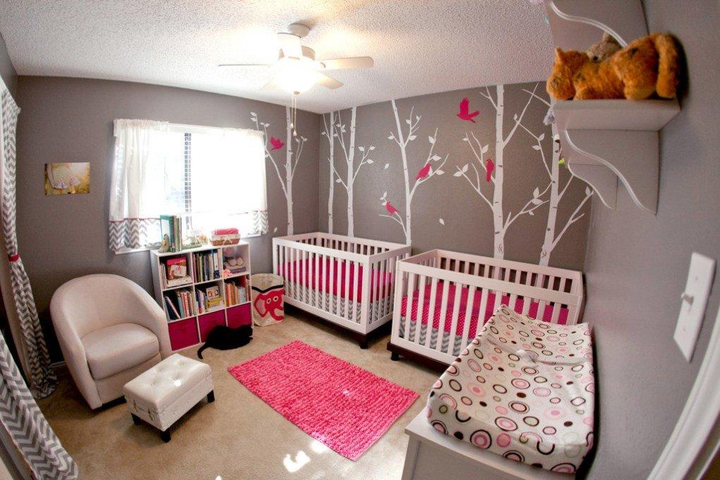 İkiz Bebek Odası | Intense pink and mild gray nursery 1 1