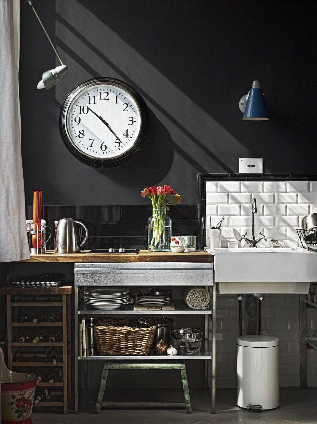 Ressam Evi | Tiny kitchenette for the small Budapest apartment with chalkboard wall 1