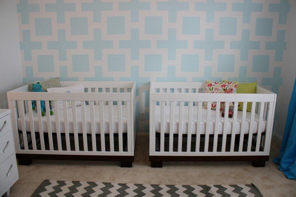 İkiz Bebek Odası | Twin nursery with a unque wall decoration 1
