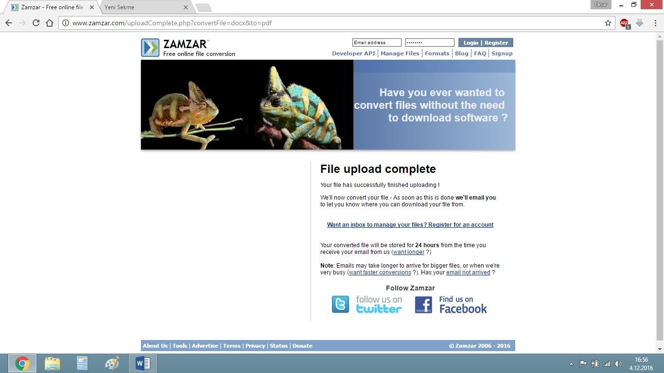 Word'ü PDF Yapma | Zamzar After Convert