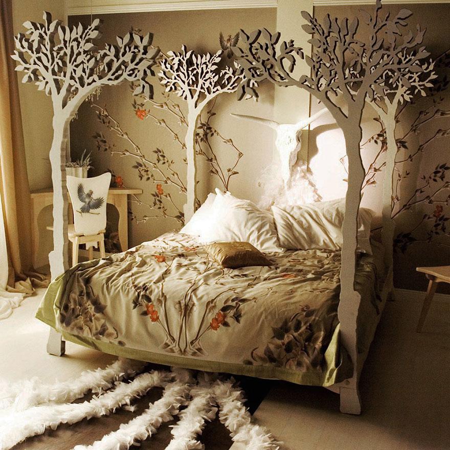 Tasarım Dekorasyon Fikirleri | Ağaç Dolu Yatak
