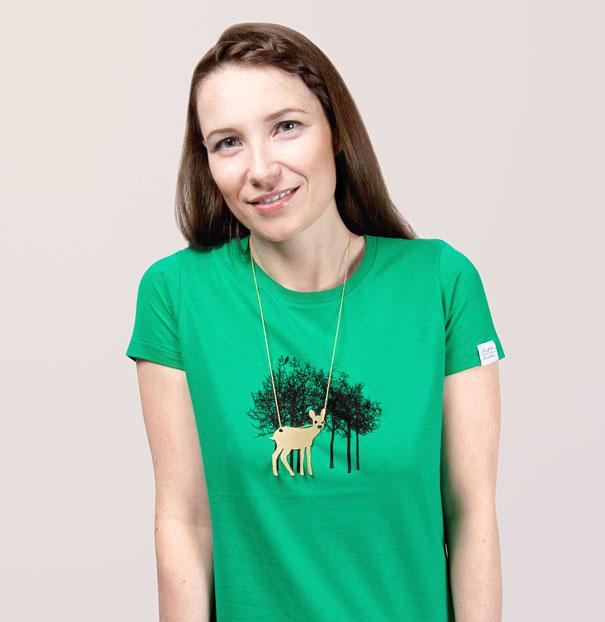 Yaratıcı Tişört Tasarımları | Geyikli ve Ormanlı Bir Tişört