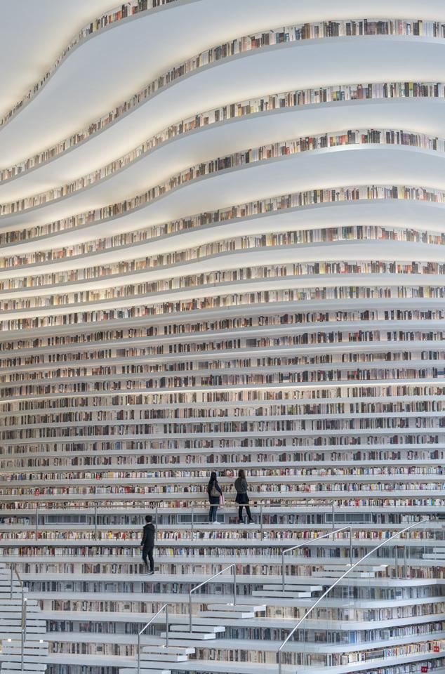 Sıradışı Çin Kütüphanesi | Kütüphanenin İçi Dikey Raflar